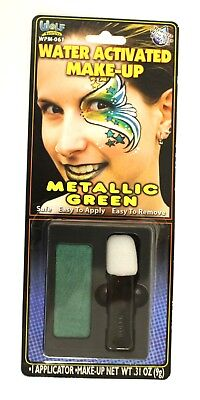 Wolfe Brothers Face Paint - Metallic Green 9 gram - Water Activated, Washes Off - Green Face Paint