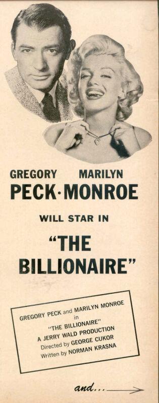 "1959 RARE MARILYN MONROE ""THE BILLIONAIRE"" GREGORY PECK FRAC AD"
