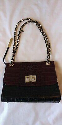 INNUE Black Maroon CROC EMBOSSED Leather Tote Shoulder Handbag Made In Italy