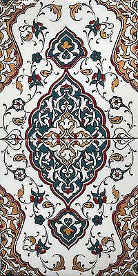 """Mustard & Turquoise Turkish Iznik Floral Pattern 8""""x16"""" Ceramic Tile Set Mural"""