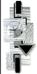 AWESOME GEOMETRIC CLOCK! Modern Metal Wall Clock Art SILVER BLACK Deco Jon Allen
