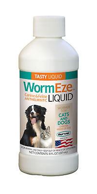 WormEze Piperazine Liquid Wormer Dog Puppies Cat & Kitten Worm Remover 8oz