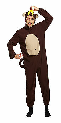 Monkey Banana Kostüm (Adult Monkey Chimp Ape & Banana Fancy Dress Costume Funny Stag Do Party Outfit)