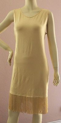 TOGETHER Kleid mit Fransen Gr. 46 gold glitter beige