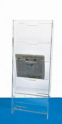 Newspaper Rack Wall Mounted Acrylic Newspaper Display 5 Pocket Menu Rack