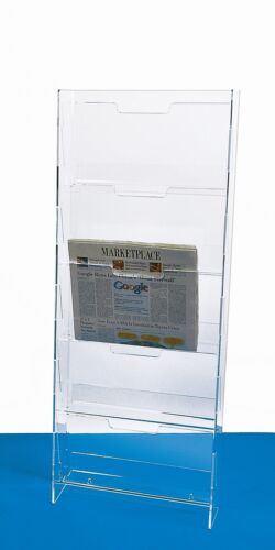 Newspaper Rack | Wall Mounted Acrylic Newspaper Display | 5 Pocket Menu Rack