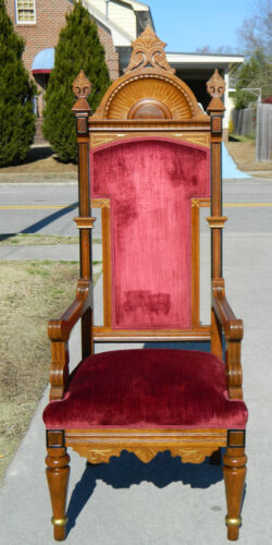 Walnut Victorian Eastlake Pulpit/Throne Chair