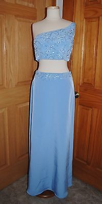 SEXY HALLOWEEN COSTUME INDIAN WEDDING GENIE BELLY DANCER PROM DRESS SIZE 12 BLUE
