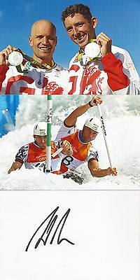 CANOEING: DAVID FLORENCE SIGNED 6x4 WHITECARD+2 UNSIGNED PHOTOS+COA *RIO 2016*