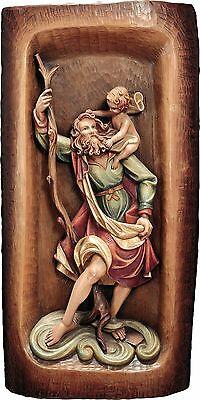 <br />S.Cristoforo Rilievo in Legno.Cm.80x40St.Christofer wood-carved Relief 31,49x15,,74demi model 126080 NUOVO In legno scolpita a mano --WOODEN WORK