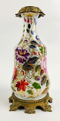 Antique hand painted Old Paris porcelain french oil lamp Bronze mounted