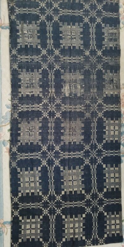 Antique Hand Woven Blue & White Jacquard Coverlet/Blanket 1800