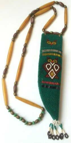VINTAGE NATIVE AMERICAN INDIAN BEADED KNIFE SHEATH OWL DESIGN W/BONE NECKLACE
