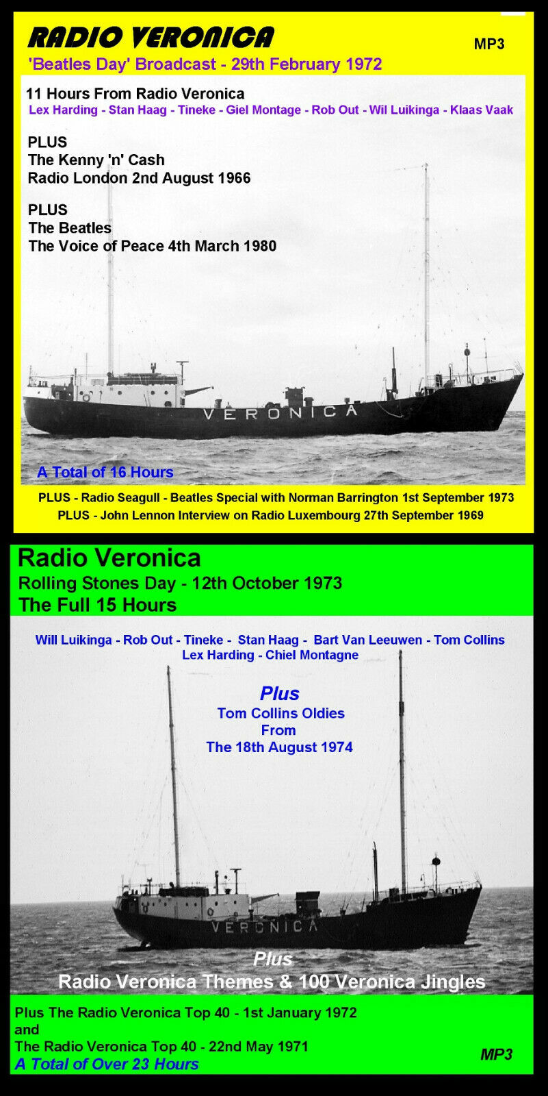 Details about Pirate Radio Veronica Fab Four Day & Stones Day Listen In  Your Car
