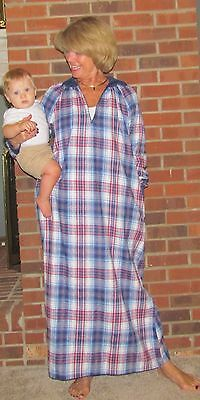 - Robe Nightgown Lounger Zipper Flannel Plaids 'Made in USA'