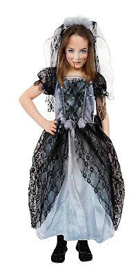 Girls Gothic Ghost Bride Costume Book Week Halloween Fancy Dress Outfit 4-10 - Gothic Vampire Bride Halloween Costume Fancy Dress