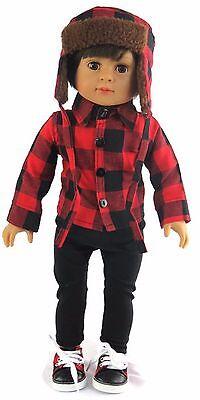 Boy Plaid Shirt, Pants, & Laplander Hat fits 18