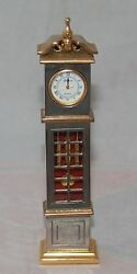 Gorham Collectible Miniature Grandfather Clock Silver and Gold Tones