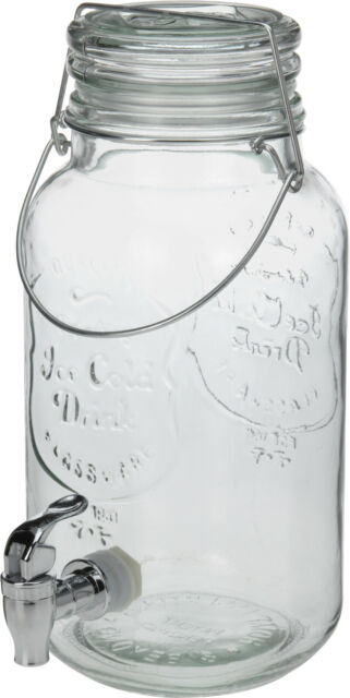 4Ltr Glas Getränk Getränk Wasser Juice Portion Krug Spender Jar mit Hahn