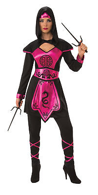 Pink Black Ninja Warrior Adult Womens Costume Dress Pants Headband NEW