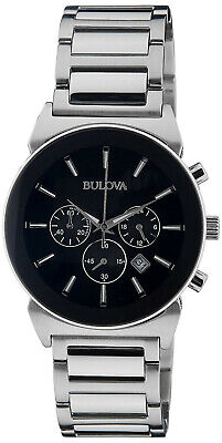 Bulova 96B203 Classic Black Dial Stainless Steel Chronograph Men's Watch