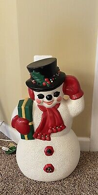 "Vintage Ceramic Handmade Snowman 20"" Lights Up And Plays Music Holding Package"