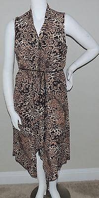 - Bubble B Leopard Animal Print Draped Tie Front Vest Robe Dress Plus 1XL 2XL 3XL