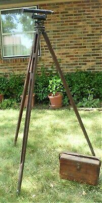 Vintage Seiler Inst. Co.transit Surveyor Level With Box And Wooden Tripod 7955