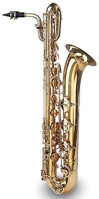 Bariton Saxophon tiefe Es-stimmung Messing lackiert Mundstück Koffer Gurt Gravur
