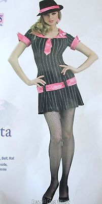 Sexy 20s 30s Girl Gangster Mob Moll Costume Dress Hat Tie S Dancer Role Play - Mob Girl Costume