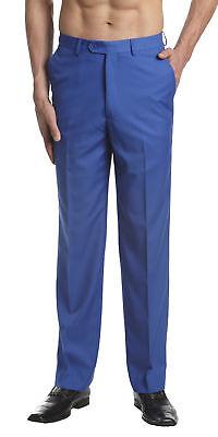 CONCITOR Men's Dress Pants Trousers Flat Front Slacks Solid ROYAL BLUE Color Blue Dress Pants