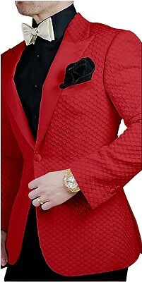 Prom Suit (Men's Red Grid Paisley Jacket Tuxedos Groom Wedding Suit Prom Party)