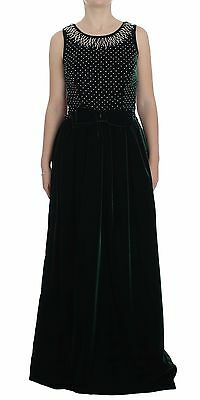 NWT $7800 DOLCE & GABBANA Dress Green Velvet Crystal Long Maxi IT46 / US12 / XL