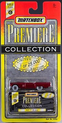 Matchbox World Class Series 6 Premiere Collection 57 T-Bird Red New On Card