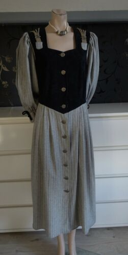 German Austrian Trachten Dirndl Dress Black Gray 14