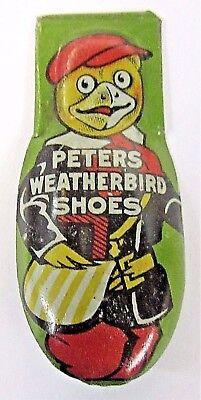 1930's PETERS WEATHERBIRD SHOES green advertising tin clicker premium w/ MASCOT