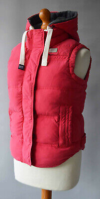Ladies Superdry Deep Pink Hooded Gilet , University Vest Size Small 50% Feather