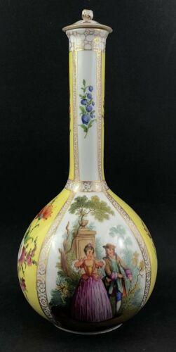 Dresden Crown Mark Quatrefoil Tall Neck Vase w/ Romantic Couples and Floral 1870