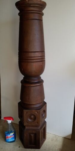 Large vintage oak wooden stairway Newel Post - Antique architectural salvage