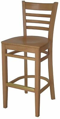 New Gladiator Wooden Natural Ladder Back Restaurant Bar Stool Natural Seat