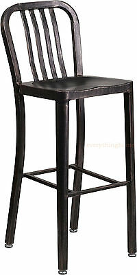 Black Antiqued Gold 'Navy' Style Bar Stool High Top Cafe