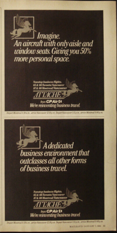 CP AIR - VINTAGE 1985 AIRLINE AD - AIRCRAFT ADVERTISING - AIRPLANE