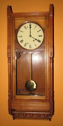 ANTIQUE SETH THOMAS QUEEN ANNE TIME WALL REGULATOR CLOCK 8-DAY ~ RARE!