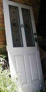 Entry entrance front door colonial solid wood glass panels lock