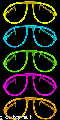 10x Glow in the Dark Glasses - Glow Stick Bright Neon Glasses Parties Festivals - Glass In Glow Sticks