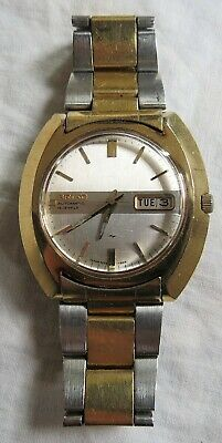 Seiko Automatic 19j Wristwatch 2-Tone Stainless Steel &Gold 7006-7080 Vintage