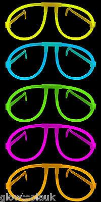 100x Glow in the Dark Glasses - Glow Stick Bright Neon Glasses Parties Festivals - Glass In Glow Sticks