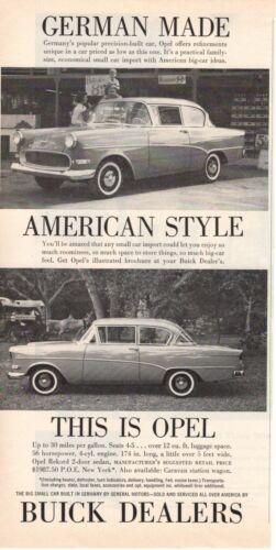 1959 ORIGINAL VINTAGE OPEL BY GM BUICK  MAGAZINE AD