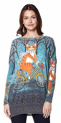 Miss Jolie C17084 -T Cat On the Bike Theme Jumper - Blue- Genuine Original Desig