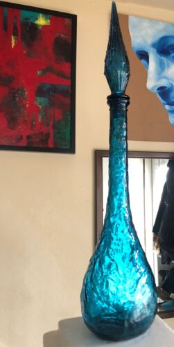 Estate Mid-Century MCM RICH BLUE Waving CRINKLE Genie Bottle Decanter Funky Art
